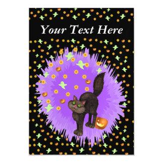 Cute Black Cat Halloween Stars Ghosts Pumpkins Magnetic Invitations
