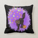 Cute Black Cat Halloween Stars Ghosts Pumpkins Throw Pillow