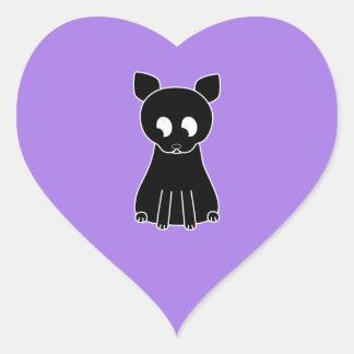 Cute Black Cat. Heart Sticker