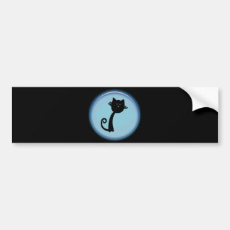 Cute Black cat in Blue 3D design Bumper Sticker