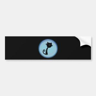 Cute black cat in blue circle bumper stickers