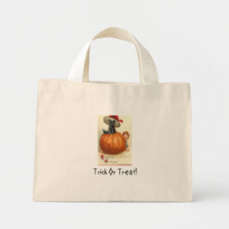 cute black cat in witches's hat canvas bags