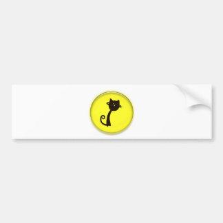 Cute Black Cat in yellow circle Bumper Sticker