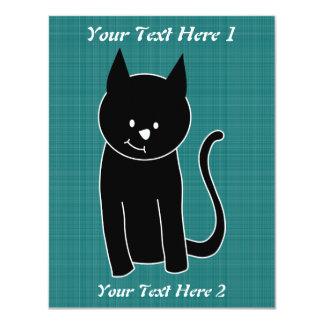 Cute Black Cat 4.25x5.5 Paper Invitation Card