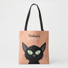 Cute Black Cat Kids Halloween Tote Bag at Zazzle