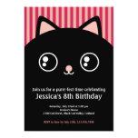 "Cute Black Cat Kitty Face Kids Birthday Invitation 5"" X 7"" Invitation Card"