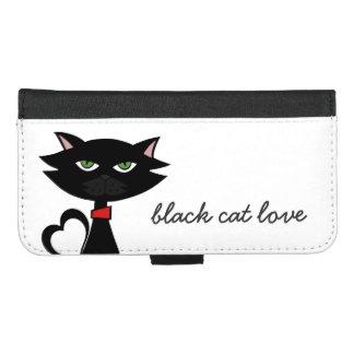 cute black cat love iphone wallet case