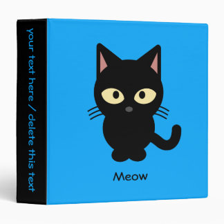Cute black cat meow cartoon 3 ring binder