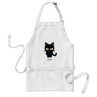 Cute black cat meow cartoon adult apron