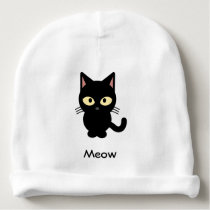 Cute black cat meow cartoon baby beanie