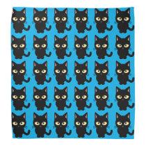 Cute black cat meow cartoon blue bandana