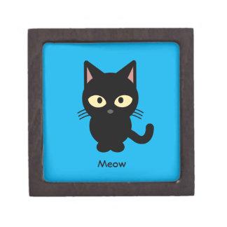 Cute black cat meow cartoon jewelry box