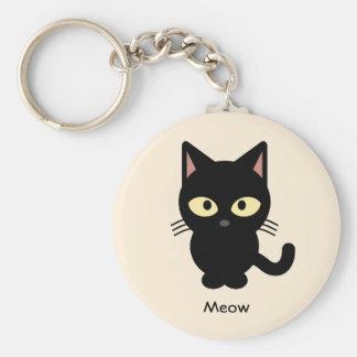 Cute black cat meow cartoon keychain