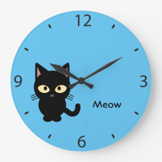 Cute black cat meow cartoon large clock