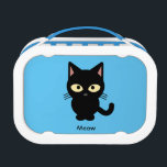 """Cute black cat meow cartoon lunch box<br><div class=""""desc"""">This black kitten with big yellow eyes looks extremely adorable. A definately must-have for cat lovers. The background is bright blue,  which makes this item stands out.</div>"""