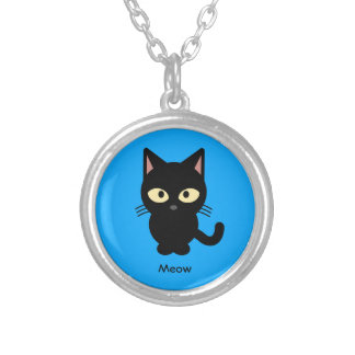 Cute black cat meow cartoon silver plated necklace