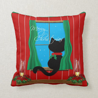 Cute Black Cat Merry Christmas Holiday Pillow
