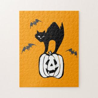 Cute Black Cat on a Pumpkin Puzzle