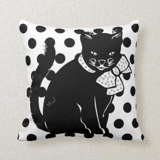 Cute Black Cat on Black & White Polka Dots Pillow