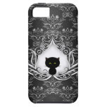 Cute Black Cat on Damask iPhone 5 Cases