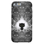 Cute Black Cat on Damask iPhone 6 Case