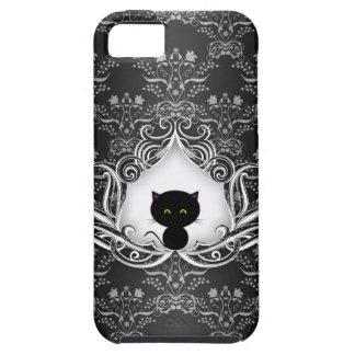 Cute Black Cat on Damask iPhone SE/5/5s Case