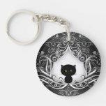 Cute Black Cat on Damask Round Acrylic Keychain