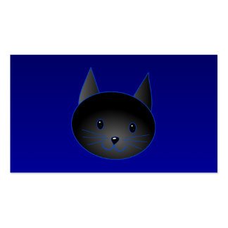Cute Black Cat on deep midnight blue. Business Card