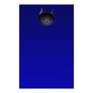Cute Black Cat on deep midnight blue. Flyer