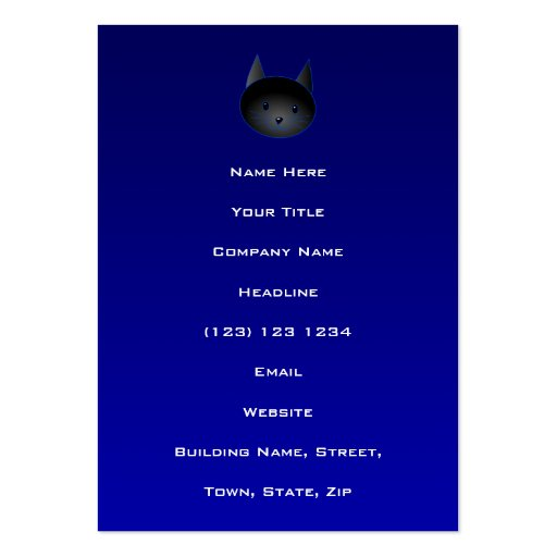 Cute Black Cat on deep midnight blue. Large Business Cards (Pack Of 100)