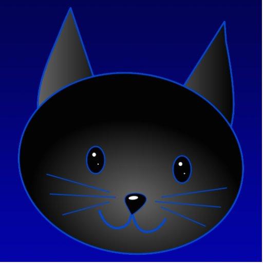 Cute Black Cat on deep midnight blue. Photo Cut Out