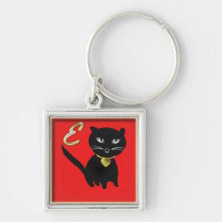 Cute Black Cat on-Red Premium Square Keychain
