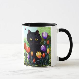 Cute Black Cat Original Art Tulips Creationarts Mug