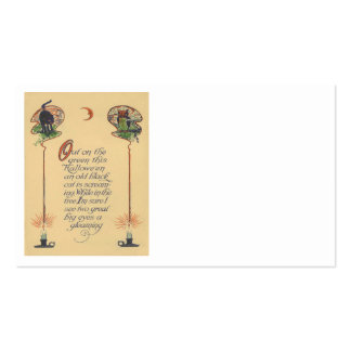 Cute Black Cat Owl Crescent Moon Candle Business Card