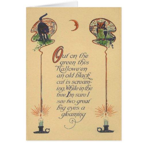 Cute Black Cat Owl Crescent Moon Candle Card