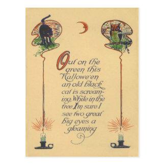 Cute Black Cat Owl Crescent Moon Candle Postcard