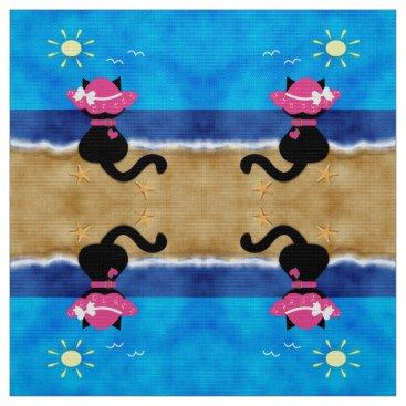 Beach Themed Cute Black Cat Pink Bonnet Summer Beach Fabric D2