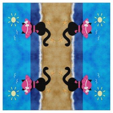 Beach Themed Cute Black Cat Pink Bonnet Summertime Beach Fabric