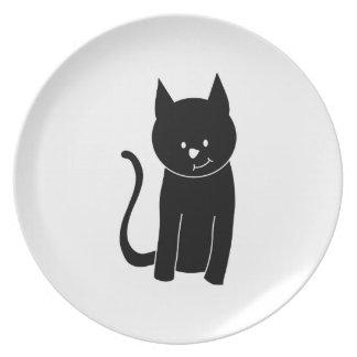 Cute Black Cat Plate