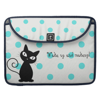 Cute Black Cat,Polka Dots-Wake up and makeup! Sleeve For MacBooks