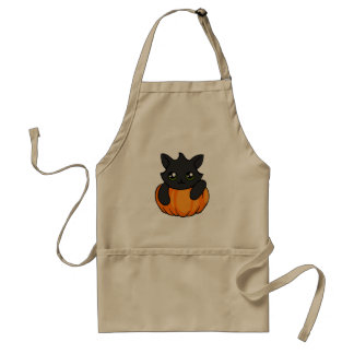 Cute Black Cat Pumpkin Drawing Halloween Apron