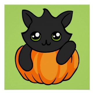 Cute Black Cat Pumpkin Drawing Halloween Poster