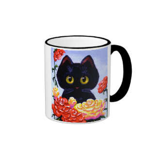Cute Black Cat Roses Flowers Art LRA Creationarts Ringer Mug