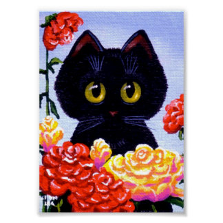 Cute Black Cat Roses Flowers Big Eyes Creationarts Poster