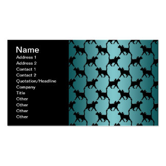 Cute Black Cat Silhouette Pattern on Teal Double-Sided Standard Business Cards (Pack Of 100)