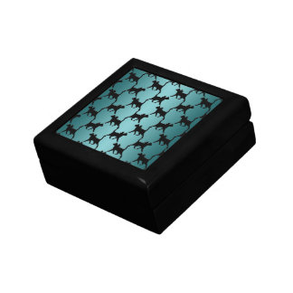 Cute Black Cat Silhouette Pattern on Teal Jewelry Boxes