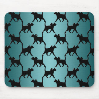 Cute Black Cat Silhouette Pattern on Teal Mouse Pad