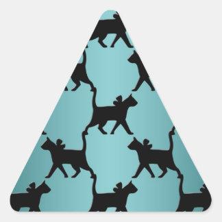 Cute Black Cat Silhouette Pattern on Teal Triangle Sticker