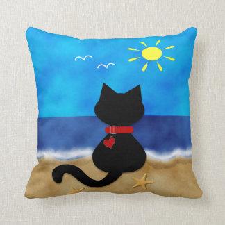 Cute Black Cat Summer Ocean Beach Theme Pillow