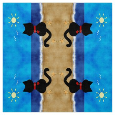 Beach Themed Cute Black Cat Summertime Beach Theme Fabric